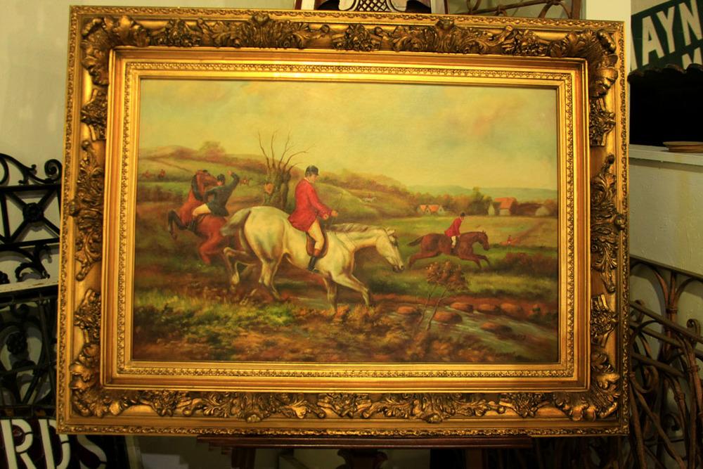 Hiden Galleries: large oil painting, hunt scene