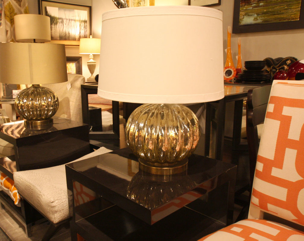 Hiden Galleries: Mercury glass lamps on black lacquer nightstands