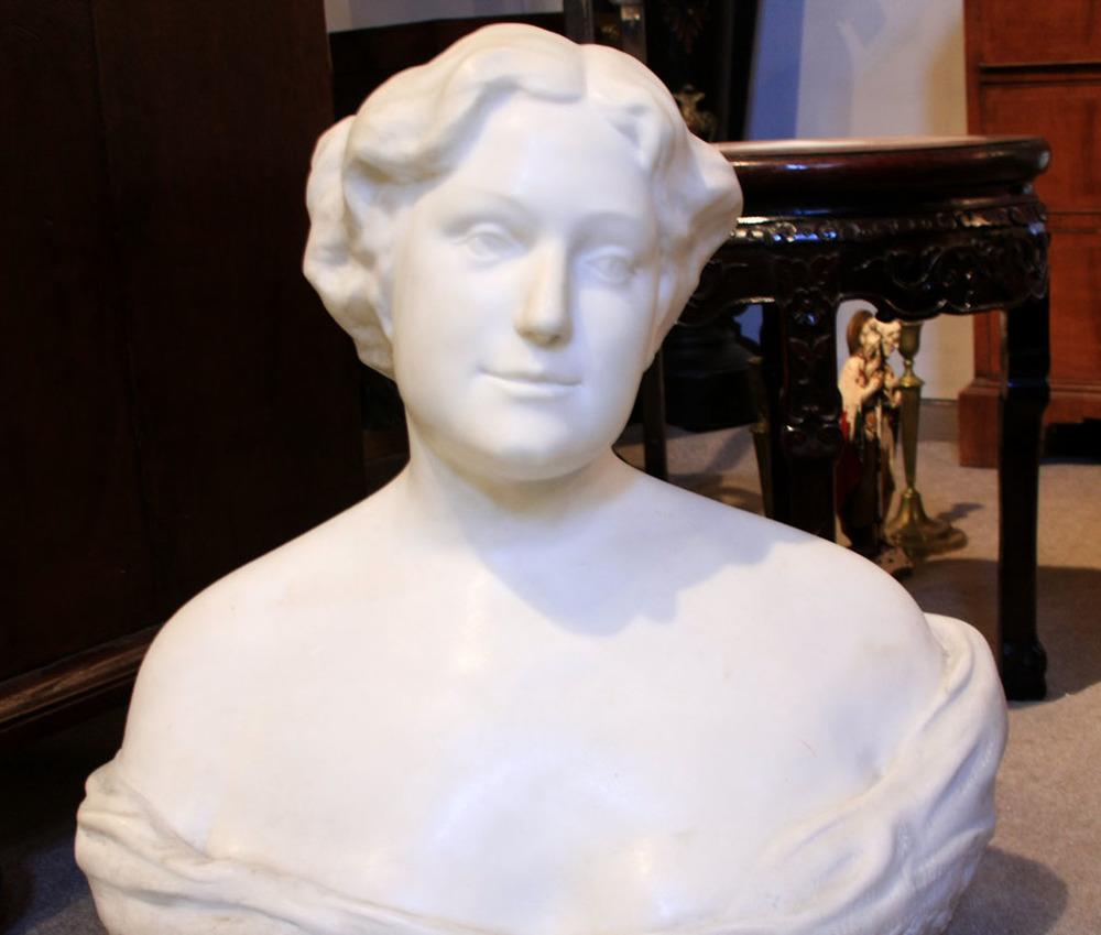 Hiden Galleries: signed marble sculpture, American