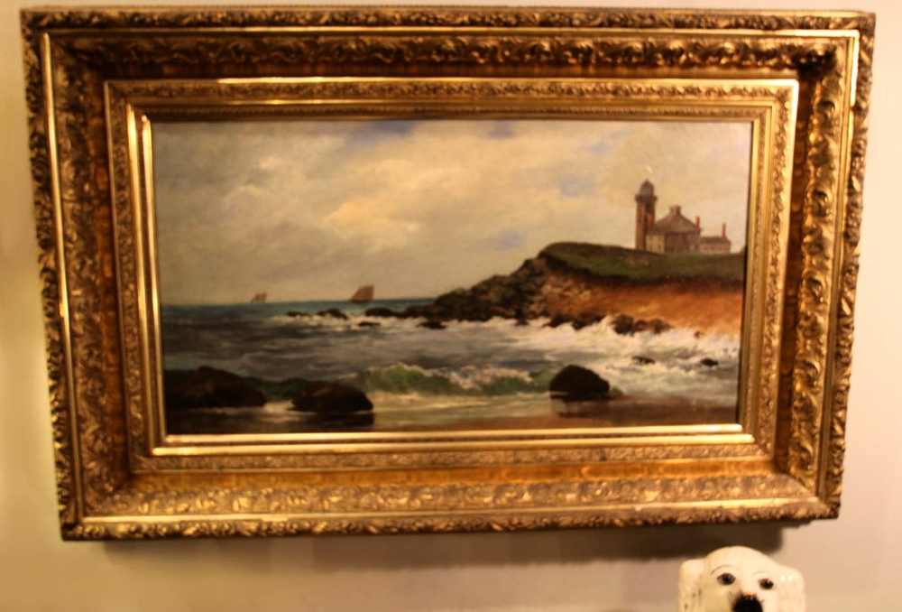 19th-century oil seascape in original gilt frame