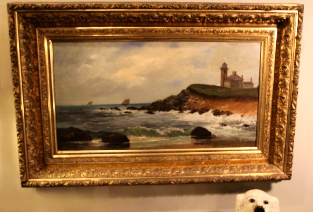 19th-century oil seascape in original gilt frame