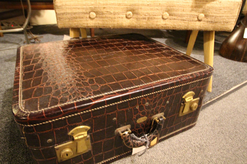 1940s or 1950s alligator stamped leather suitcase and 1950s bench with splayed legs