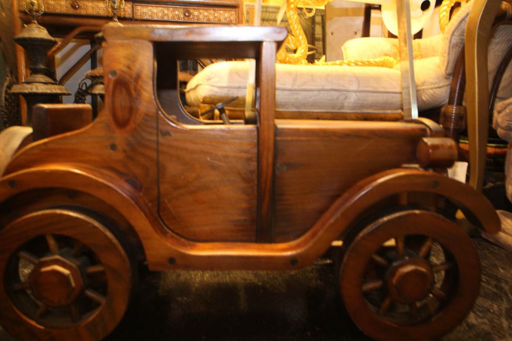 "Wooden coupe model, signed ""Dawn till Dusk"""