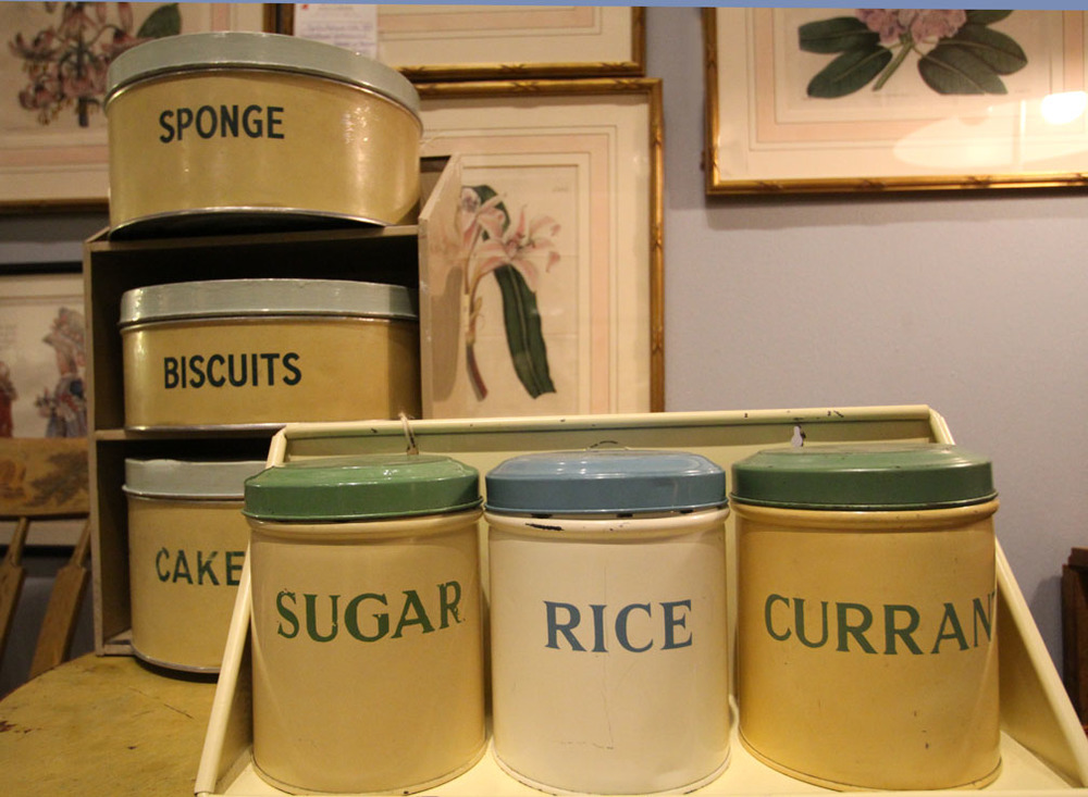 Enamel vintage tins with hanging shelves, English