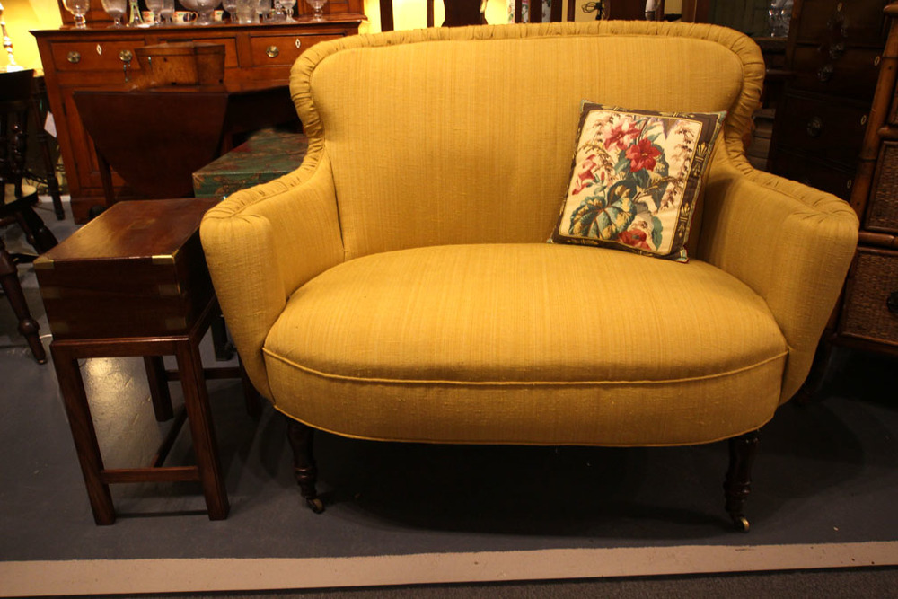 c1860s loveseat, newly re-upholstered