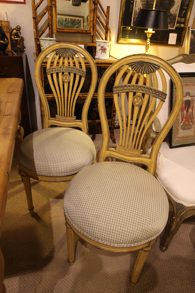 "Two of a set of four painted Louis XVI ""Montgolfier"" style chairs, AGR Paris, 1930"