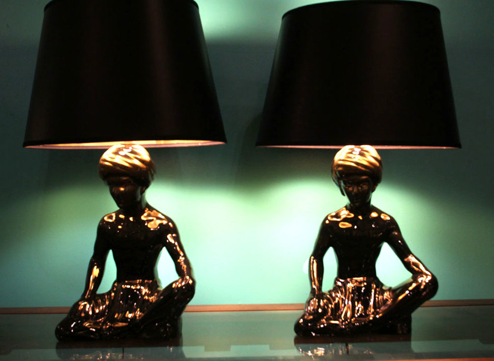 Pair of vintage blackamoor lamps