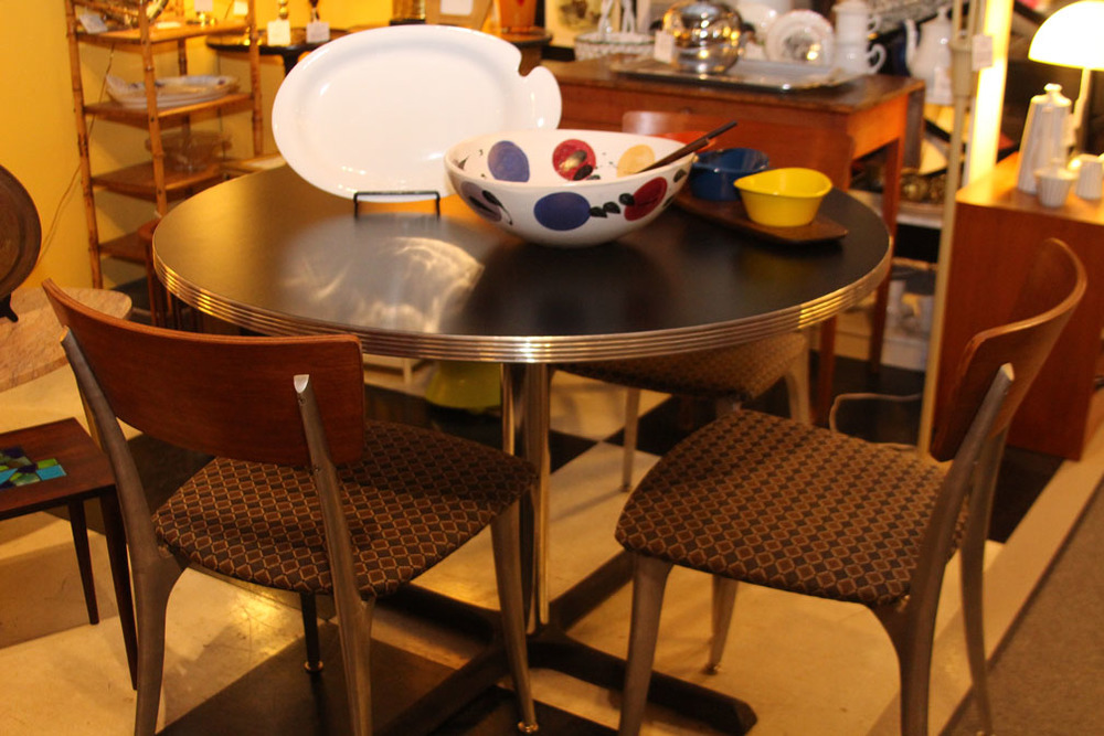 Hiden Galleries: retro dinette table with mid-century walnut chairs