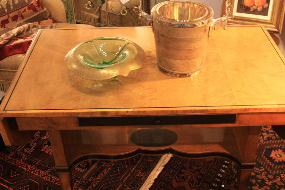 Hiden Galleries: Biedermeier fruitwood drop leaf sofa table with Art Nouveau bowl and Denigmer wood and silver ice bucket
