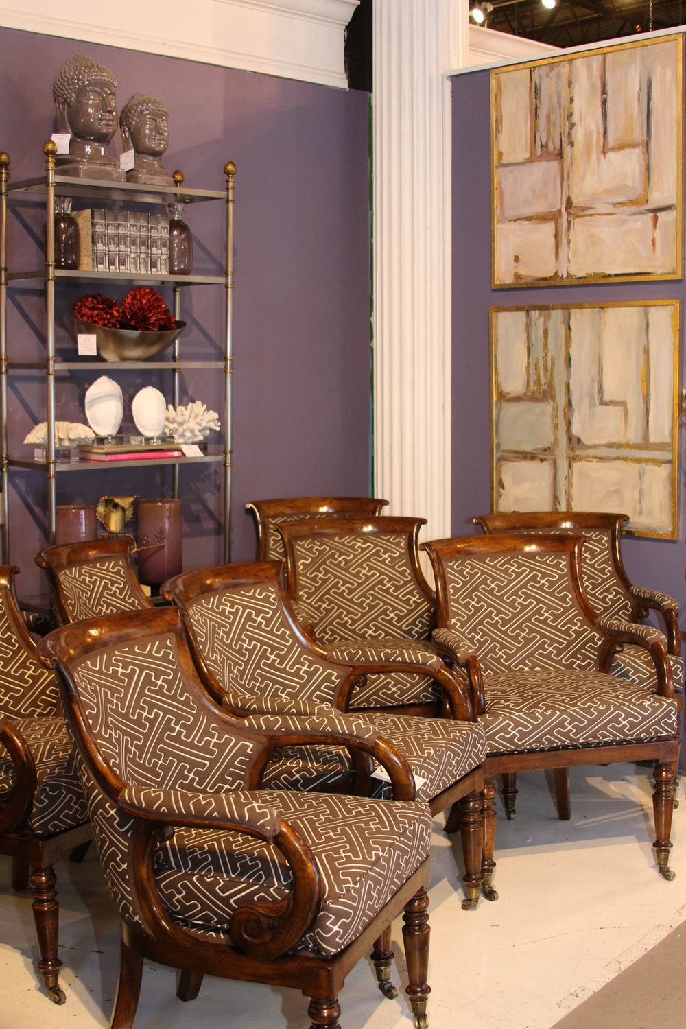 Hiden Galleries: set of 9 chairs re-upholstered in Quadrille
