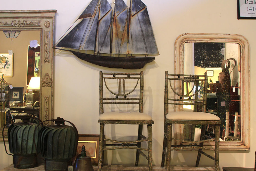 Hiden Galleries: pair of faux bamboo French chairs with folk ship in old tin and French mirror