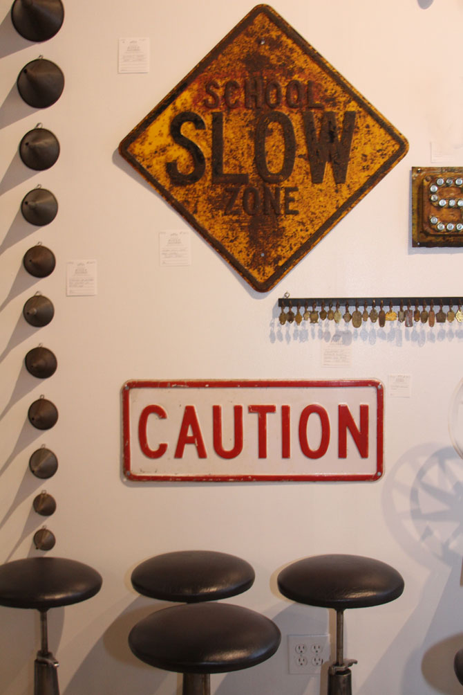 Hiden Galleries: 6 antique Bausch & Lomb stools, vintage traffic signs and collection of tin funnels