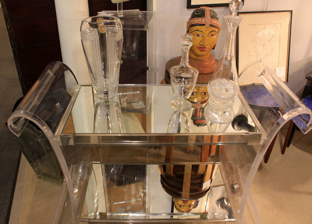Hiden Galleries: Lucite, mirror and chrome bar cart, c 1950-1960, with early Bacarat signed decanter and French Art Deco vase