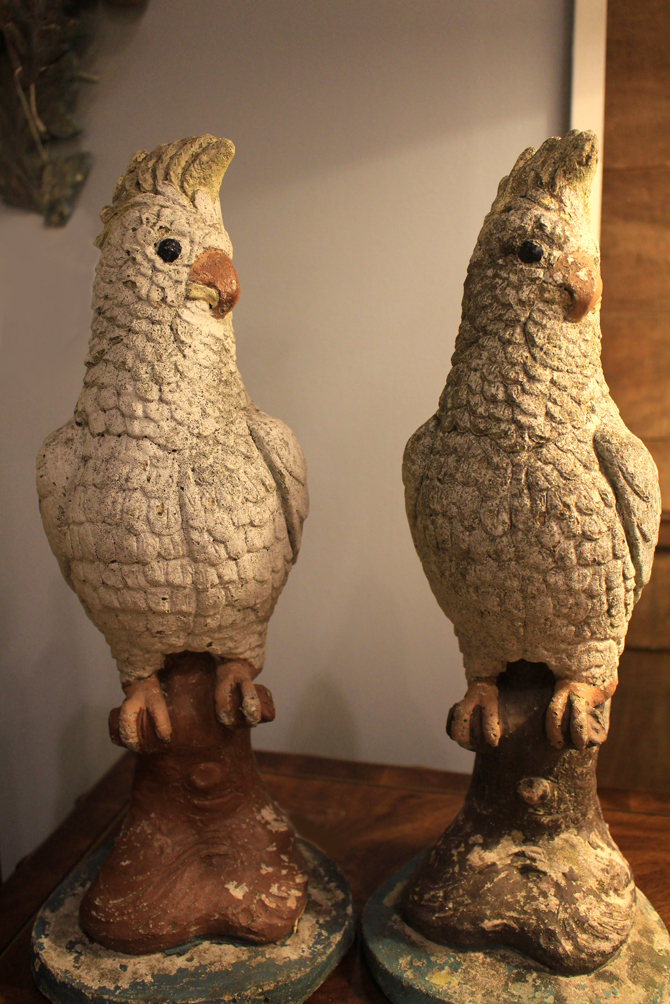 Hiden Galleries: pair of stone cockatoos, c1950s