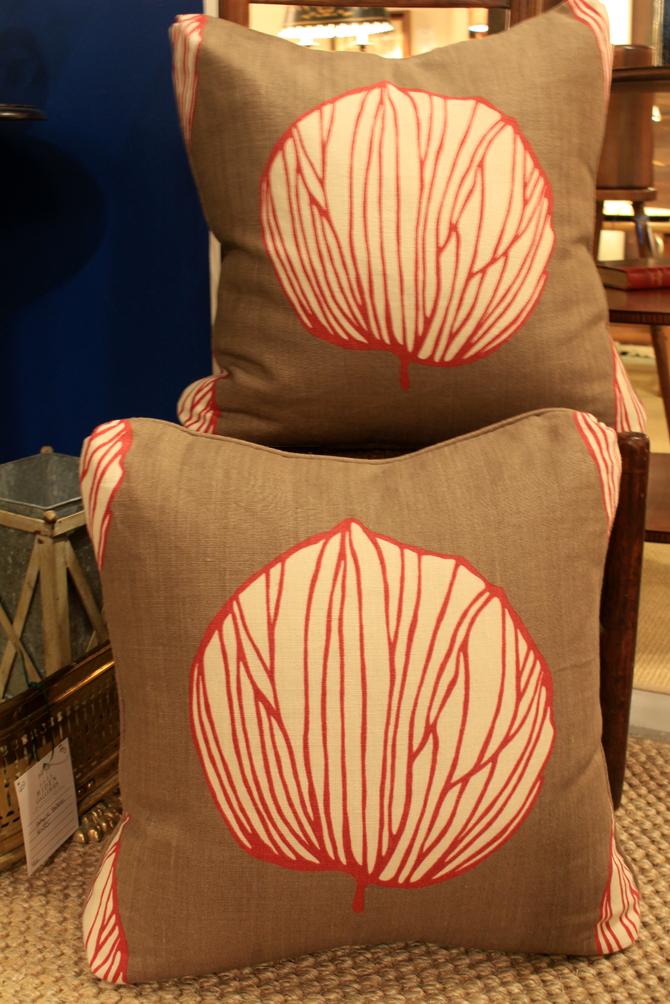 Hiden Galleries: pair of red leaf pillows