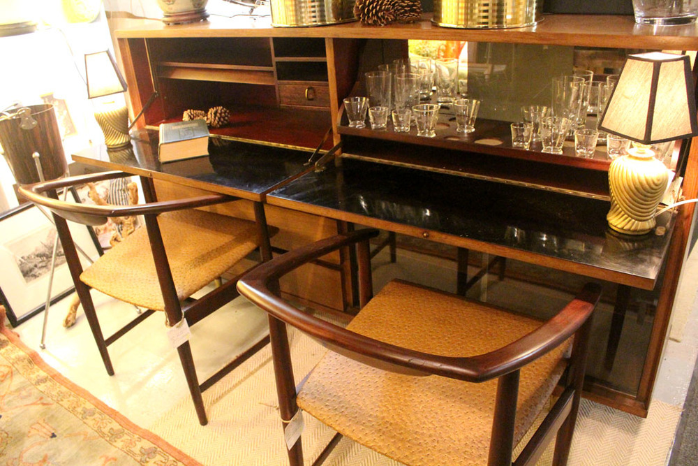 Hiden Galleries: mid-century credenza/bar/desk with pair of mid-century Kip Henst chairs with faux ostrich seats