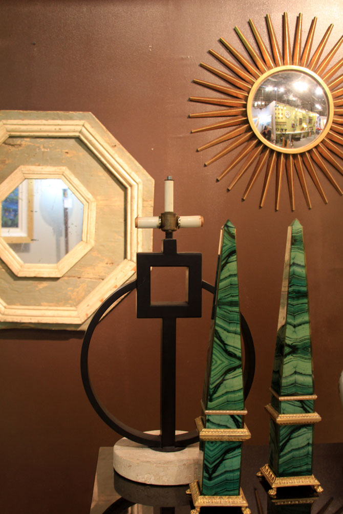 Hiden Galleries: faux malachite obelisks, vintage gilt sunburst mirror