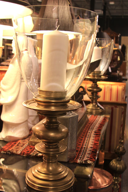 Hiden Galleries: vintage large brass candlestick with hurricane (one of a pair)