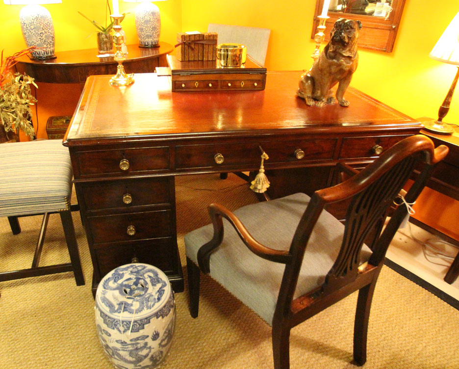 Hiden Galleries: English mahogany partner's desk, c 1880, with c 1880 Hepplewhite chair