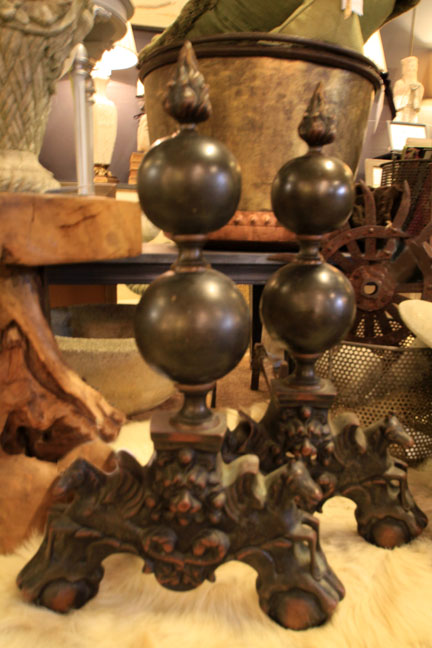 Hiden Galleries: large 18th-century bronze andirons