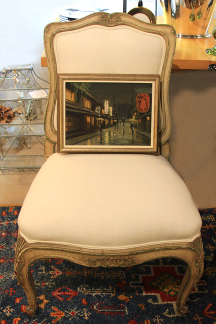 Hiden Galleries: oil by Hayashi Nobuo, c 1956 on 19th-century French bergere (one of pair)