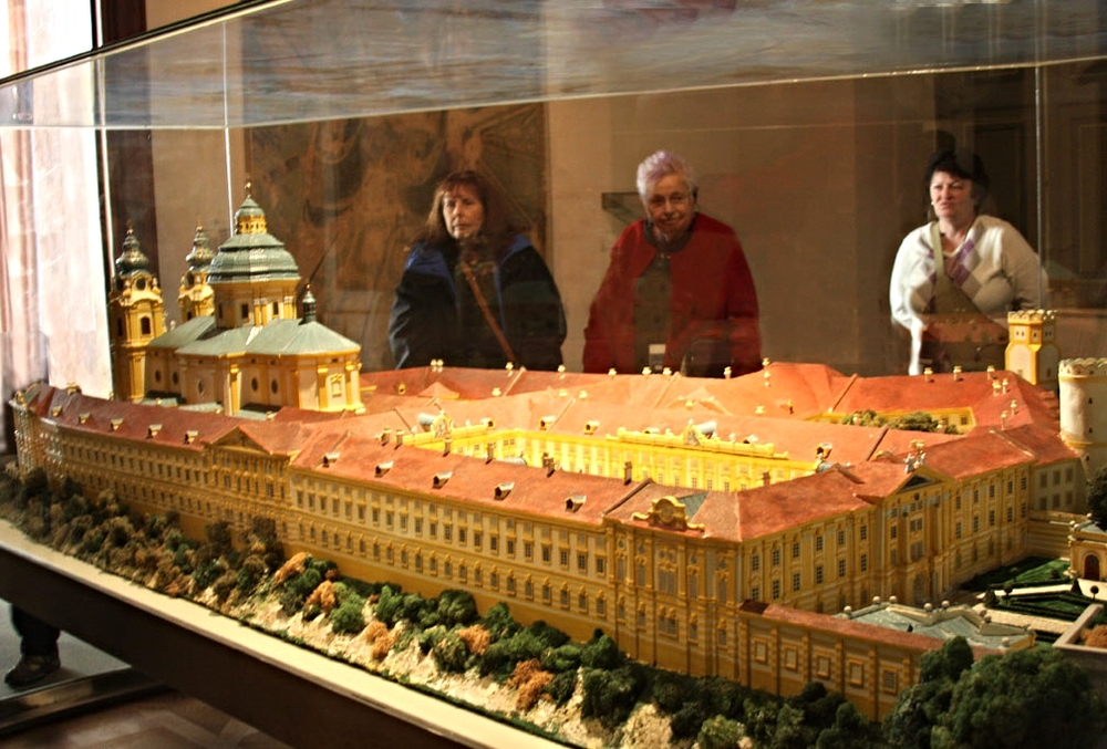 A model of the 497-room Melk Abbey, and yes, the lady opposite has silvery gray hair with purple spikes.   photo by Morgan Thomas, 2014