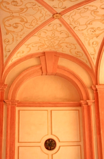 A sort of apricot and cream color scheme in the entrance to the Abbey.   photo by Morgan Thomas, 2014