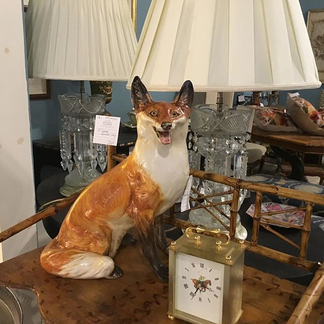Foxy. Dealer 1562 has everything 30% off in their equestrian-hunt-themed/country estate booth. #antique #hidengalleries #furnishings #interiors #equestrian #foxhunting #vintage #countrylife
