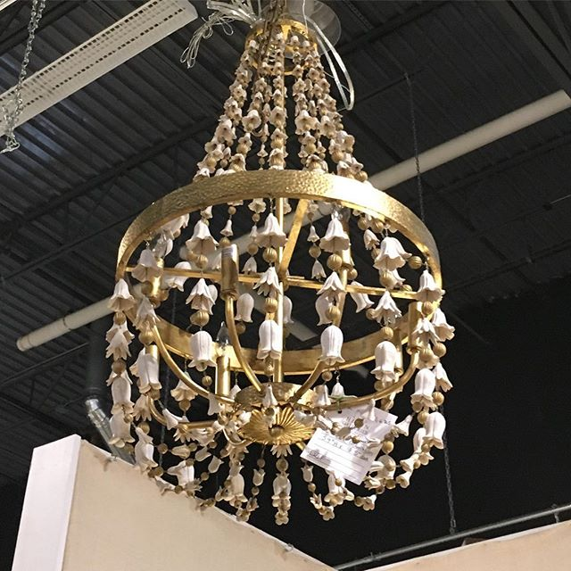 Gorgeous gilt and blanc de chine chandelier. Dealer 1399. #hidengalleries #vintage #antiques #chandelier #blancdechine #hidengalleries #lighting #design #weclosemay31