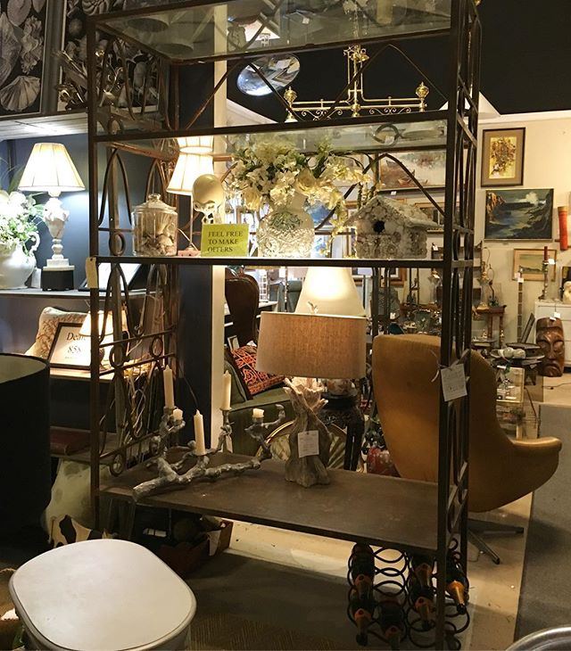 Dealer 855 is moving across the street to Hampton's but is taking offers on select merchandise. #furnishings #bargains #vintage #mirrors #etagere #hidengalleries