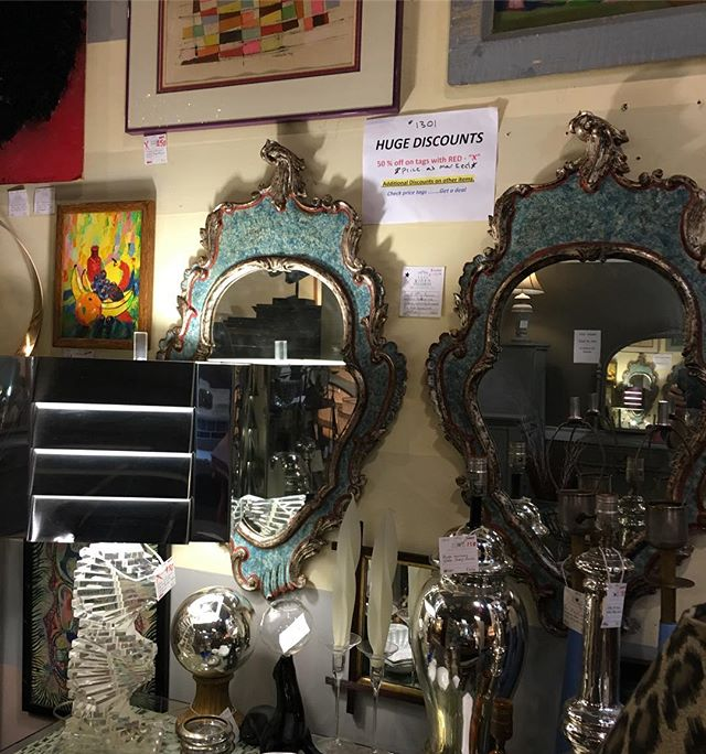 Dealer 1301 has a big sale in their booth with some items 50% off. One week until we close. #hidengalleries #antiques #interiors #furnishings #bargains #vintage #mirrors
