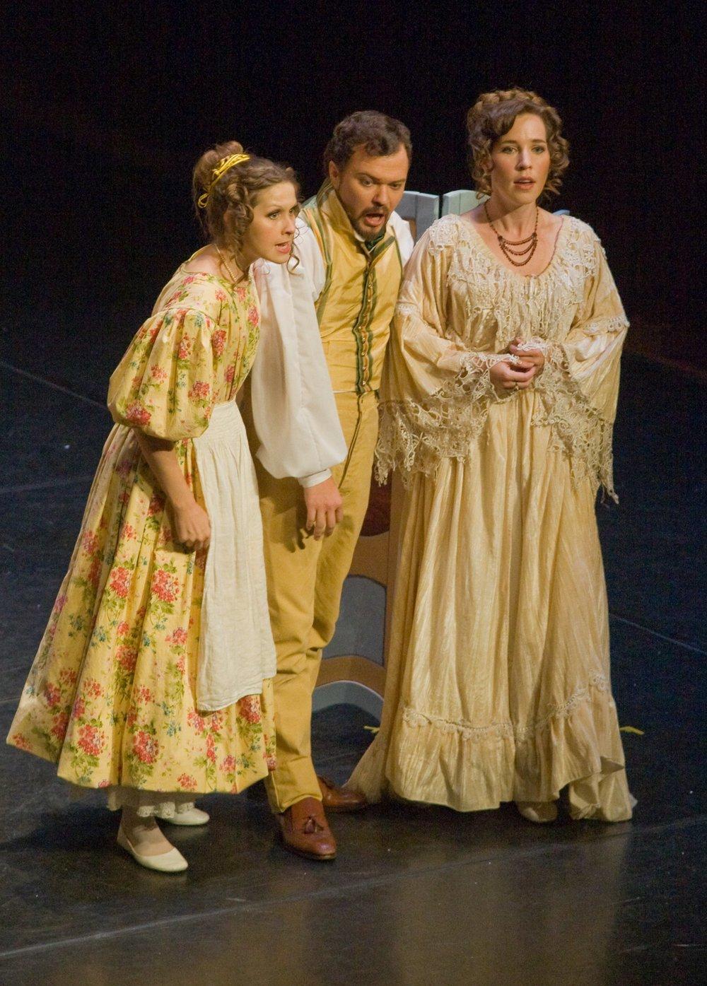 Susanna with Christie Hageman (Contessa), Jordan Shanahan (Figaro) inMozart's Le nozze di Figaro with Stockton Opera, 2013.© Steve Pereira