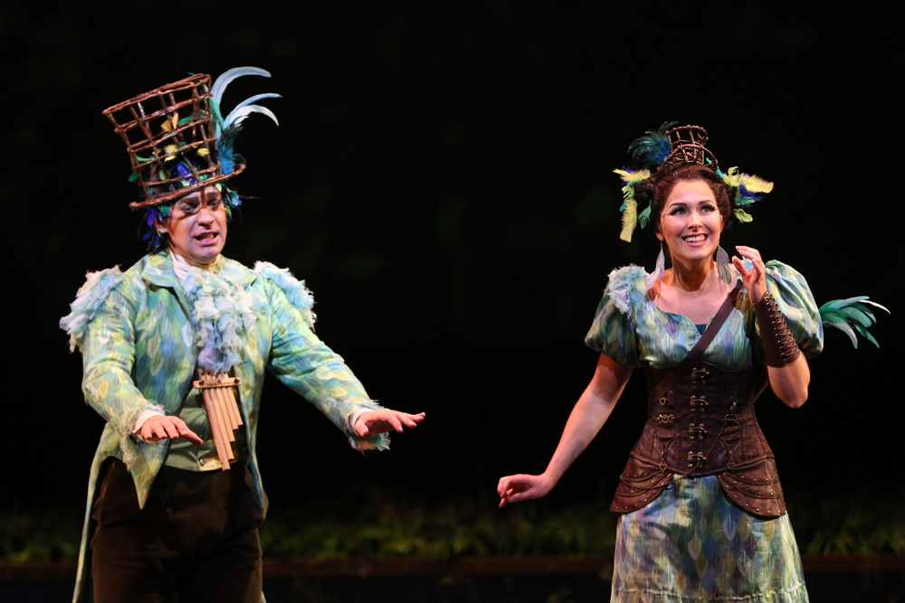 As Papagena with Kurt Olds (Papageno) in Hawai'i Opera Theatre's  Magic Flute,  2015. (c) Cory Lum.