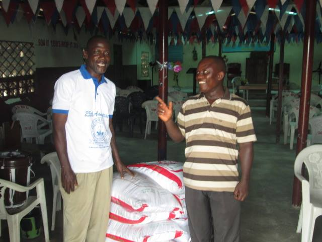 Rice delivered to Second Calvary Baptist Church for distribution.