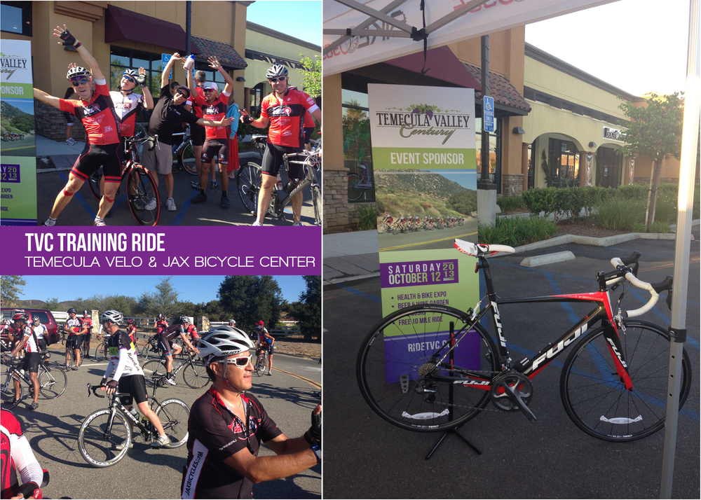 Members of Temecula Velo hosted the second TVC Summer Training Ride. Riders were treated to an assortment of refreshments from Jax Bicycle and got a first look at the 2013 Raffle Grand Prize Road Bike from Jenson USA.