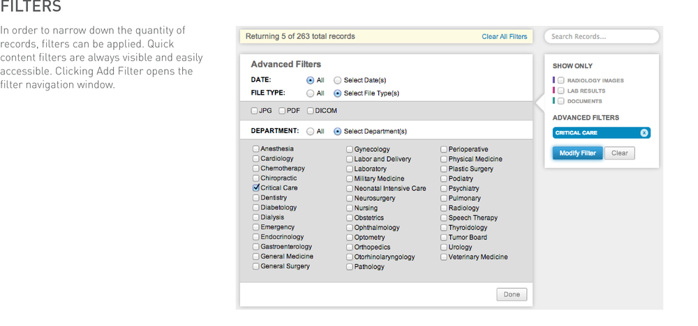 An indication for the applied filter is then displayed on the right side, the history view updates immediately, and a status bar at the top flashes to show the number of results being returned. A search box provides auto-completion for quick access to filters. Another shortcut to add departmental filters is to click on the Department labels in history view.
