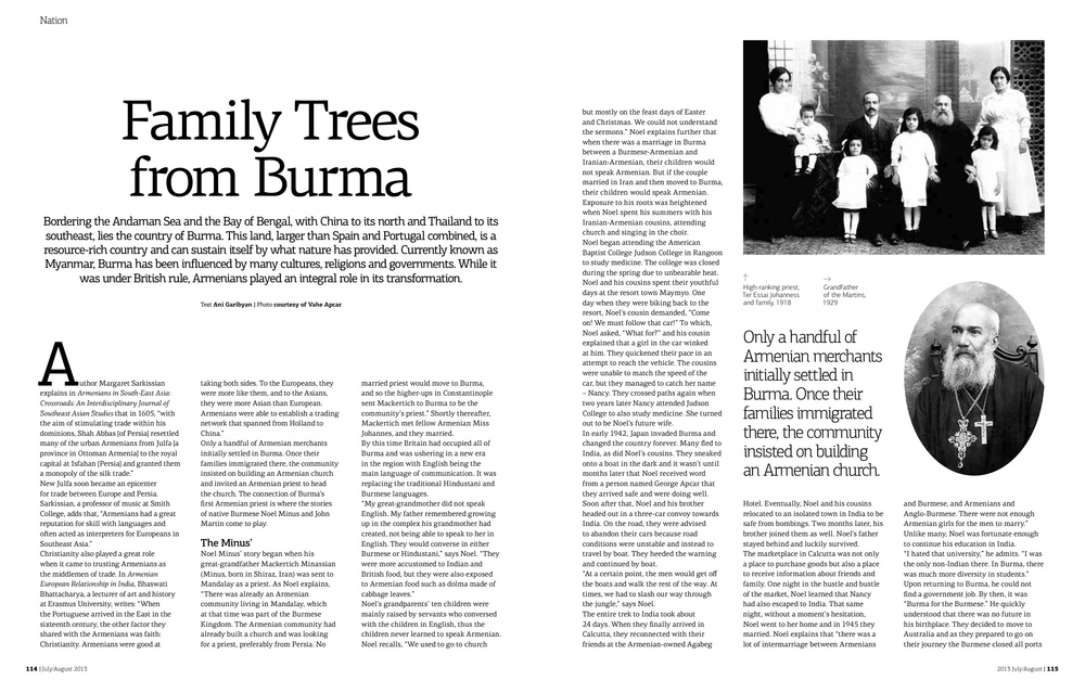 Family Trees from Burma    Armenians played a key role in the transformation and  development of the country formerly known as Burma