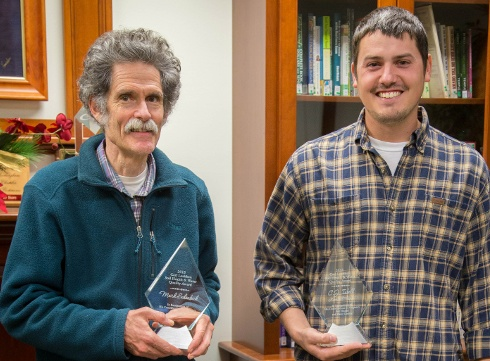 Mark Schonbeck (left) and C.J. Isbell (right) were recognized by Virginia Cooperative Extension and the U.S. Department of Agriculture-Natural Resources Conservation Service for their commitment to sustainability and soil health. Photo courtesy of Virginia Cooperative Extension.