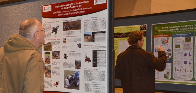 Studying research posters.