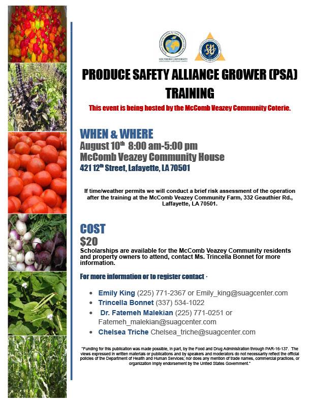Produce Safety Alliance Grower (PSA) Training — Southern