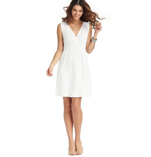 Ruched Waist Sleeveless Dress     Color:White  ORG: $49.50  SALE: $25.00  FINAL PRICE: $20.00