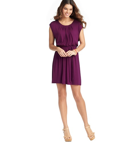 Shirred Neck Tie Waist Dress    Color: Purely Plum  ORG: $69.50  SALE: $54.98  FINAL PRICE:$21.95