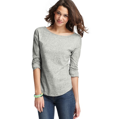 Cotton Roll Sleeve Top    Color:Light Heather Grey  ORG: $29.50  SALE: $24.99  FINAL PRICE: $10.00