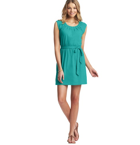 Pintucked Tie Waist Cotton Dress 																   Color: Dynasty Green  ORG: $49.50  SALE: $25.00  FINAL PRICE: $20.00