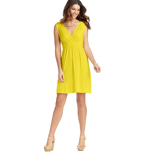 Ruched Waist Sleeveless Dress    Color:Canary Yellow  ORG: $49.50  SALE: $25.00  FINAL PRICE: $20.00