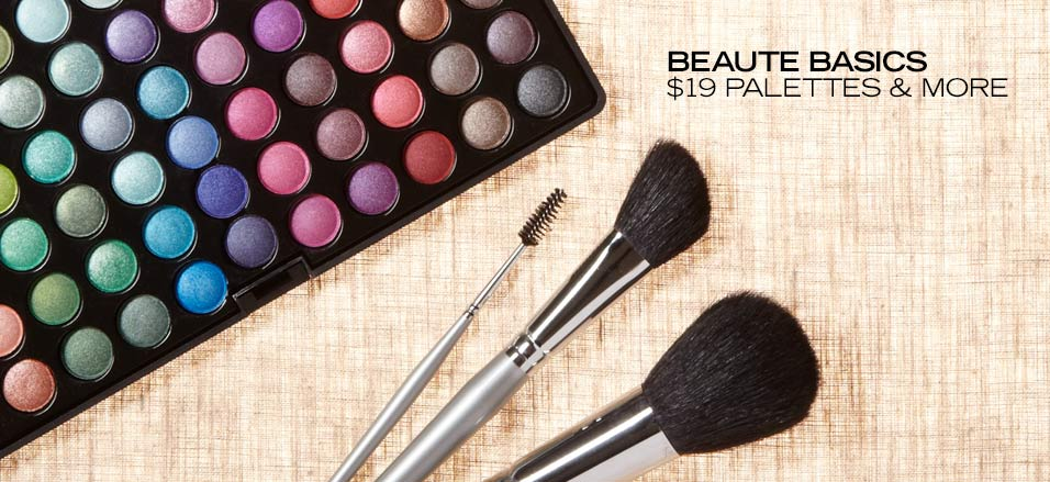 Treat your face like an easel with these gorgeous palettes and brush  sets from Beaute Basics. If you like to shimmer, pick up an eye shadow  set with metallic shades. Or take a more classic route with a palette of  neutral hues. And if you're missing brushes from your makeup kit, don't  worry: the brush sets include powder, blush, liners, sponges and more.