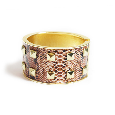 Pyramid Stud Snakeskin Bangle by Lydell NYC       35.00