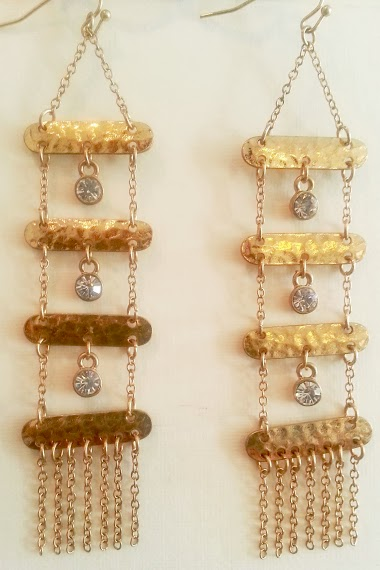 Gold Hammered Dangle Earrings       15.00