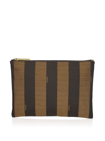 Fendi Pequin Tall Case, BrownIconic striped Pequin fabric lined with smooth leather and 1 slip pocket makes this design perfect as a compact travel case, organizer or everyday storage pouch ORG $160 SALE $149