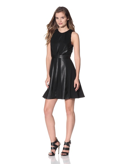 Luna by Josandra Inset Flare Dress Sleeveless ponte knit dress with tonal faux leather panels and hidden back zipper.     ORG $212     SALE $84